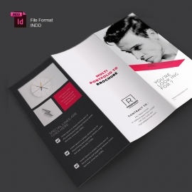 Corporate Business Trifold Brochure Red Accent