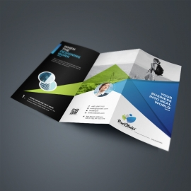 Corporate Trifold Brochure With Blue Green Abstract
