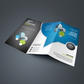 Corporate Business TriFold Brochure WIth Cricle Blue Accent
