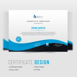 Corporate Certificate Design With Blue Elements