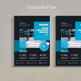 Corporate Flyer With Black & Cyan Accent