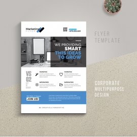 Corporate Flyer With Blue Accent