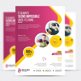 Corporate Flyer With Green And Magenta Accent