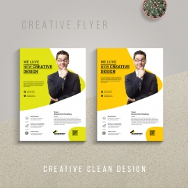 Corporate Flyer With Green Yellow Accent