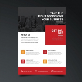 Corporate Flyer with Orange & Red Accent