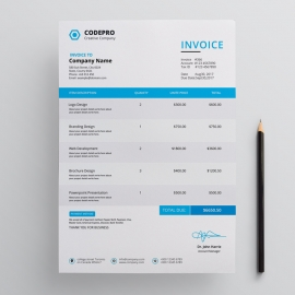 Corporate Invoice With Blue Concepts