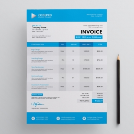 Corporate Invoice With Blue Cpncepts