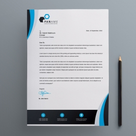 Corporate Letterhead With Black & Blue Concept