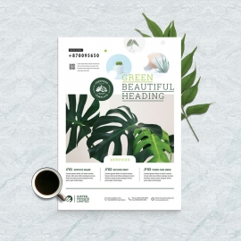 Corporate Minimal Flyer With Green Floral Elements