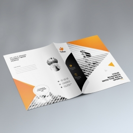 Corporate Orange Presentation Folder With Triangle