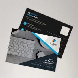 Corporate Postcard With Black & Blue Elements