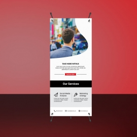 Corporate Red Rollup Banner