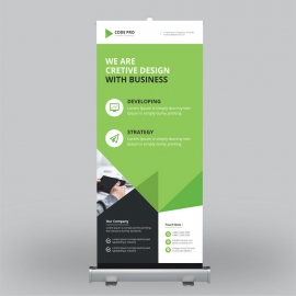 Corporate Roll-Up Banner With Green Elements