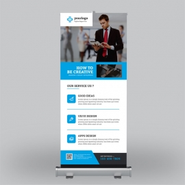 Corporate Roll-Up Banner With Orange Blue Elements