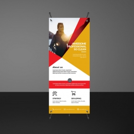 Corporate Rollup Banner With Abstract Shapes