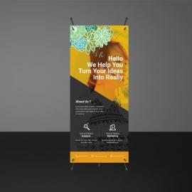 Corporate Rollup Banner with Black & Orange Accent