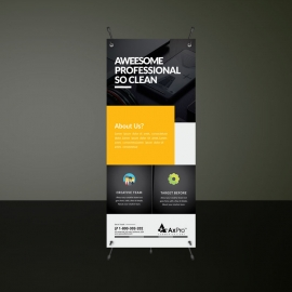 Corporate Rollup Banner with Black Orange Accent