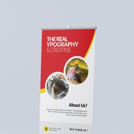 Corporate Rollup Banner with Red Orange Accent