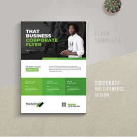 Corporate Style Business Flyer With Green Accent