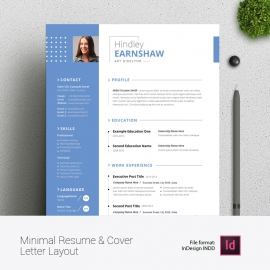 Creative Blue Resume With Cover Letter And Portfolio