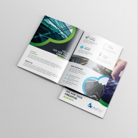 Creative Business BiFold Brochure With Black Green Accent