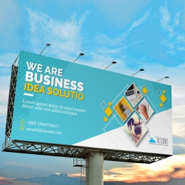 Creative Business BiIlboard With Cyan Accent