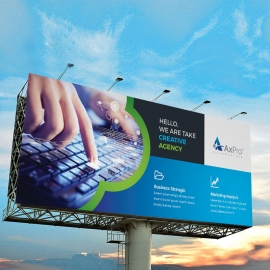 Creative Business Billboard Banner With Blue Accent
