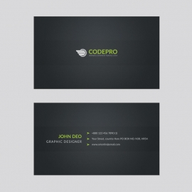 Creative Business Card With Black Green Concepts