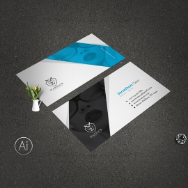 Creative Business Card With Blue  Accent
