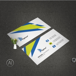 Creative Business Card With Blue And Green Accent