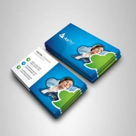 Creative Business Card With Blue Green Accent