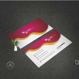 Creative Business Card With Red Accent