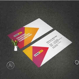 Creative Business Card With Red And Yellow Acccent
