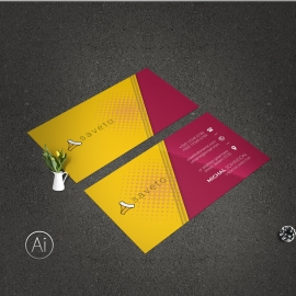 Creative Business Card With Yellow And Red Accent