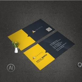 Creative Business Card With Yellow Black