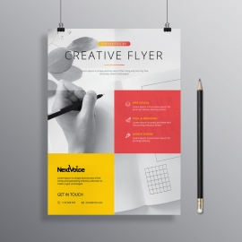 Creative Business Flyer Red Yellow Color