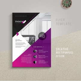 Creative Business Flyer Template With Purple Assent