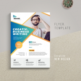 Creative Business Flyer With Blue Accent