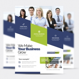 Creative Business Flyer With Blue And Green Accent