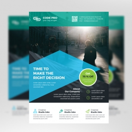 Creative Business Flyer With Cyan Black Accent