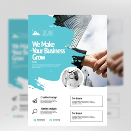 Creative Business Flyer With CyanColor Brush Style
