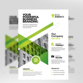 Creative Business Flyer With Green Accent