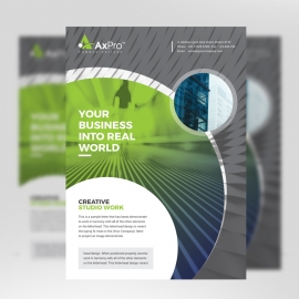 Creative Business Flyer With Green Black