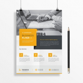 Creative Business Flyer With Orang Accent
