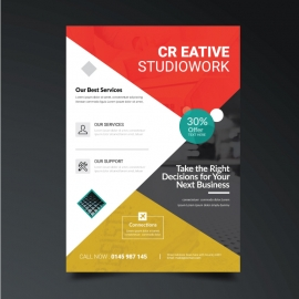Creative Business Flyer with Red & Orange Accent