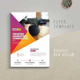 Creative Business Flyer With Red Yellow Accent