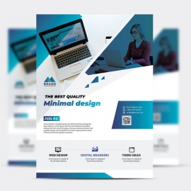 Creative Business Flyer With With Blue Accent