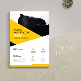 Creative Business Flyer With Yellow And Black Accent