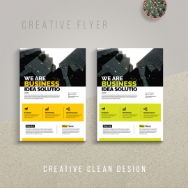 Creative Business Flyer With Yellow And Green Accent