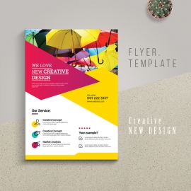 Creative Business Flyer With Yellow And Red Accent